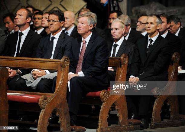 Alan Shearer Fabio Capello Sir Alex Ferguson Paul Gascoigne and Gary Lineker during the Sir Bobby Robson Memorial Service at Durham Cathedral on...