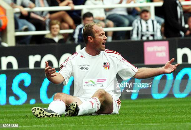 Alan Shearer gestures during the England v Germany charity match in aid of the Bobby Robson Foundation at St James' Park on July 26 2009 in Newcastle...