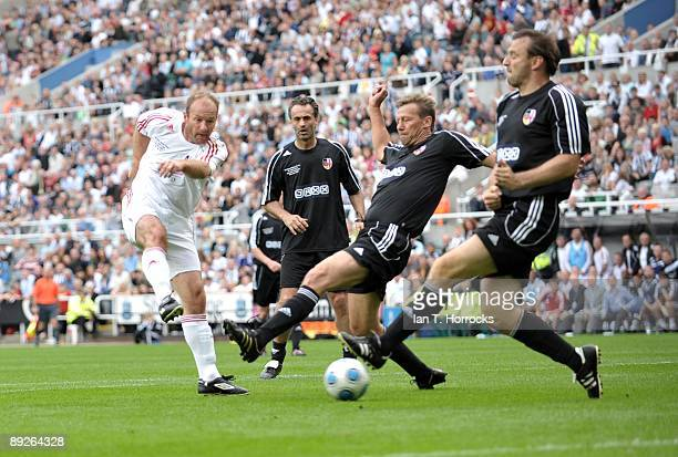 Alan Shearer in action during the England v Germany charity match in aid of the Bobby Robson Foundation at St James' Park on July 26 2009 in...