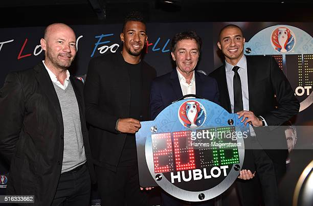 Alan Shearer Jerome Boateng Michel Pont and David Trezeguet during Hublot press conference 'Hublot loves football' at the Baselworld on March 18 2016...