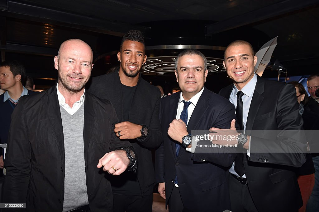 Alan Shearer, Jerome Boateng, Ricardo Guadalupe and David Trezeguet during Hublot press conference 'Hublot loves football' at the Baselworld on March 18, 2016 in Basel, Switzerland.
