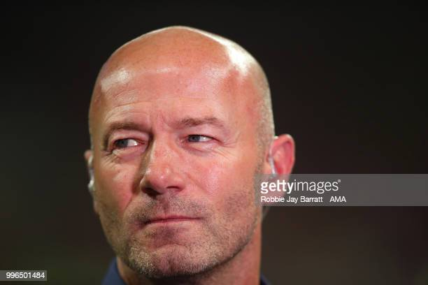 Alan Shearer looks on at the end of the 2018 FIFA World Cup Russia Semi Final match between Croatia and England at Luzhniki Stadium on July 11 2018...