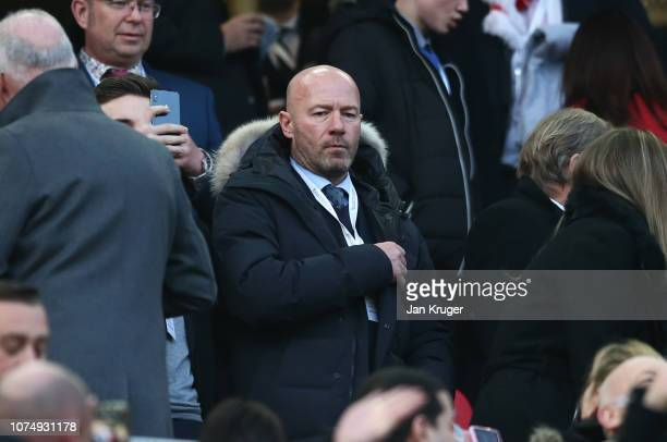 Alan Shearer looks on prior to the Premier League match between Liverpool FC and Newcastle United at Anfield on December 26 2018 in Liverpool United...