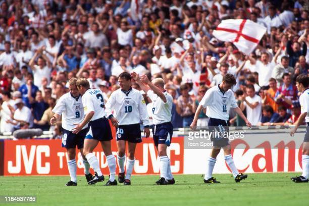Alan Shearer of England celebrate his goal with his teammates during the European Championship match between England and Switzerland at Wembley...
