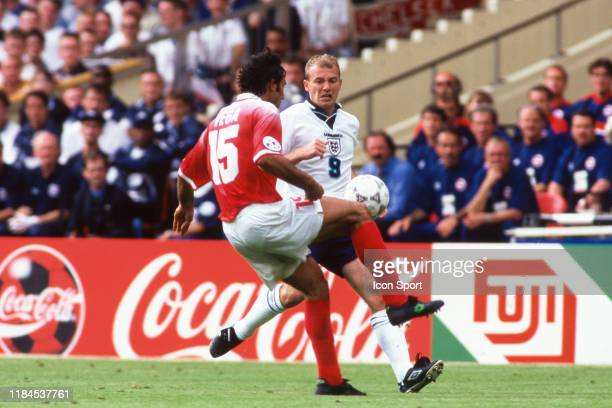 Alan Shearer of England during the European Championship match between England and Switzerland at Wembley Stadium London England on 8th June 1996