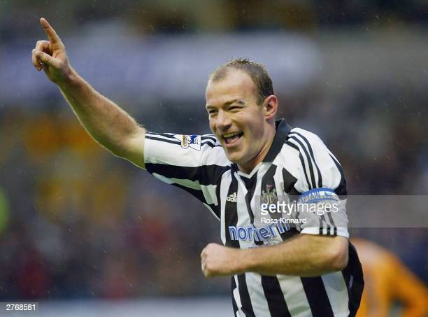Alan Shearer of Newcastle celebrates after scoring during the FA Barclaycard Premiership match between Wolverhampton Wanderers and Newcastle United...