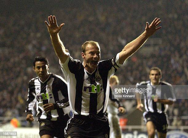 Alan Shearer of Newcastle celebrates after scoring from the penalty spot during the UEFA Champions League First Phase Group E match between Newcastle...