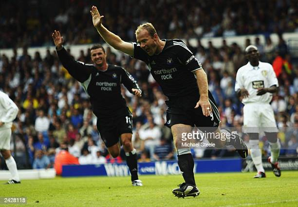 Alan Shearer of Newcastle celebrates his first goal during the FA Barclaycard Premiership match between Leeds United and Newcastle United on August...