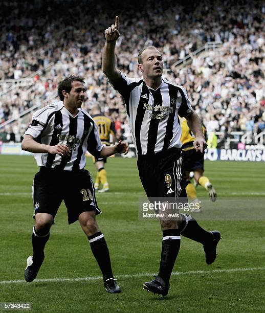 Alan Shearer of Newcastle celebrates his goal with Michael Chopra during the Barclays Premiership match between Newcastle United and Wigan Athletic...