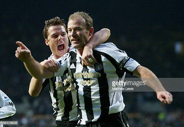 Alan Shearer of Newcastle celebrates his goal with team mate Scott Parker during the Barclays Premiership match between Newcastle United and Aston...