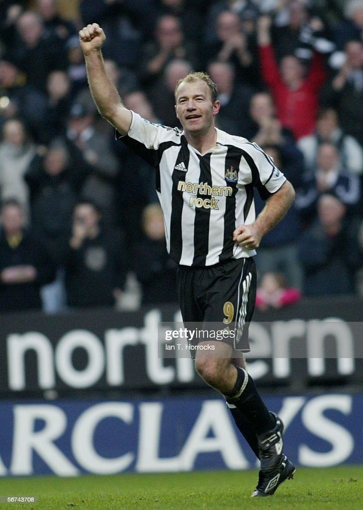 Alan Shearer of Newcastle celebrates scoring his record breaking goal during the Barclays Premiership match between Newcastle United and Portsmouth at St James' Park on February 4, 2006 in Newcastle, England.