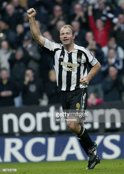 Alan Shearer of Newcastle celebrates scoring his record breaking goal during the Barclays Premiership match between Newcastle United and Portsmouth...