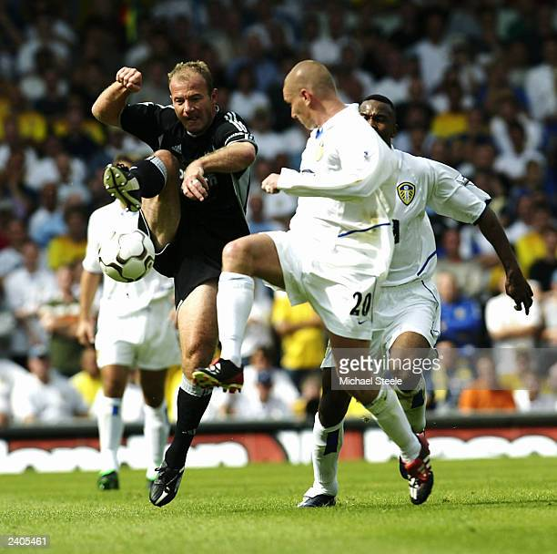 Alan Shearer of Newcastle gets past Seth Johnson of Leeds during the FA Barclaycard Premiership match between Leeds United and Newcastle United on...