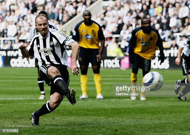 Alan Shearer of Newcastle scores from the penalty spot during the Barclays Premiership match between Newcastle United and Wigan Athletic at StJames'...