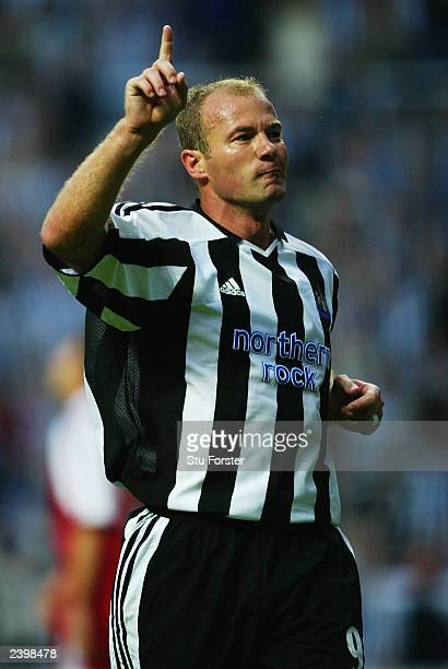 Alan Shearer of Newcastle United celebrates after scoring the opening goal during the PreSeason Friendly match between Newcastle United and FC Bayern...