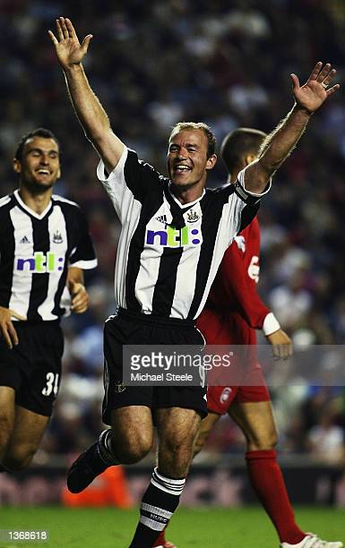 Alan Shearer of Newcastle United celebrates after scoring the second goal during the FA Barclaycard Premiership match between Liverpool and Newcastle...
