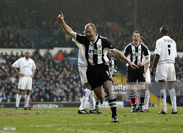 Alan Shearer of Newcastle United celebrates after scoring the third goal during the FA Barclaycard Premiership match between Leeds United and...