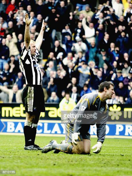 Alan Shearer of Newcastle United celebrates scoring the first of his two goals during the FA Barclaycard Premiership match between Newcastle United...