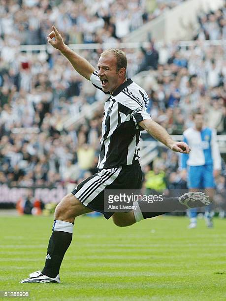 Alan Shearer of Newcastle United celebrates scoring the second goal during the Barclays Premiership match between Newcastle United and Blackburn...