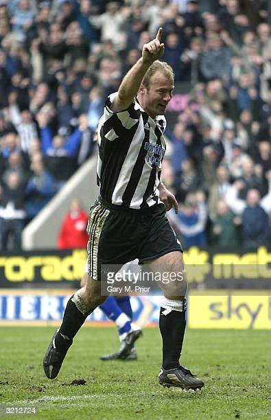 Alan Shearer of Newcastle United celebrates scoring the second of his two goals during the FA Barclaycard Premiership match between Newcastle United...