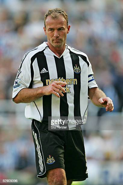 Alan Shearer of Newcastle United in action during the Barclays Premiership game between Newcastle and Chelsea at St James Park on May 15 2005 in...