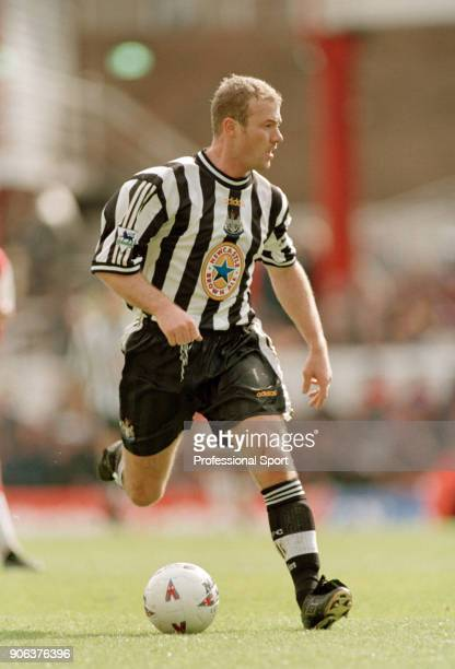 Alan Shearer of Newcastle United in action during the FA Carling Premiership match between Arsenal and Newcastle United at Highbury on April 4 1998...