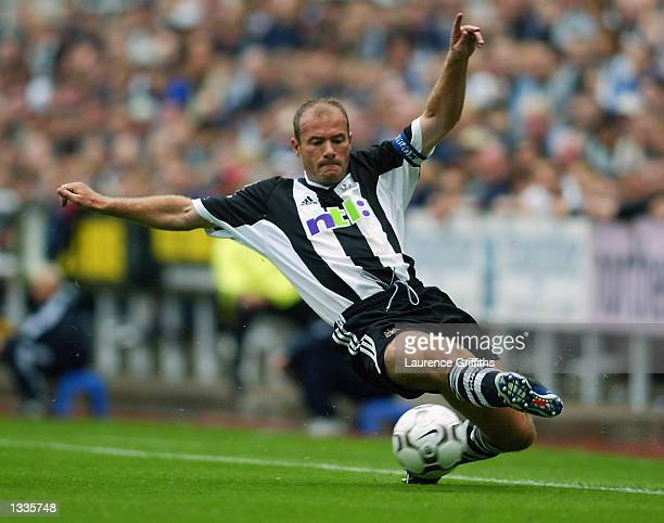 Alan Shearer of Newcastle United in action during the PreSeason Friendly between Newcastle United and Barcelona at St James Park in Newcastle England...