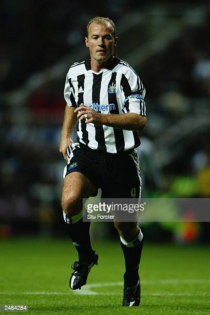 Alan Shearer of Newcastle United in action during the UEFA Champions League third qualifying round Second Leg match between Newcastle United and...