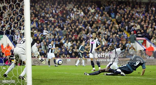 Alan Shearer of Newcastle United scores the third goal during the Barclays Premiership match between West Bromwich Albion and Newcastle United at The...