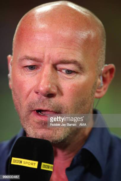 Alan Shearer performs pundit duties for the BBC at the end of the 2018 FIFA World Cup Russia Semi Final match between Croatia and England at Luzhniki...