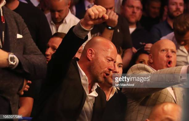 Alan Shearer reacts prior to watching Francesco Patera fight Lewis Ritson during the European Lightweight Championship fight at Metro Radio Arena on...