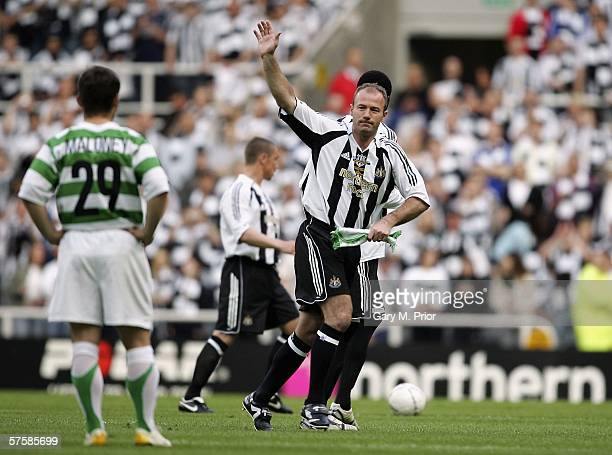 Alan Shearer salutes the crowd after being substituted during his testimonial match between Newcastle United and Celtic at St James's Park on May 11...