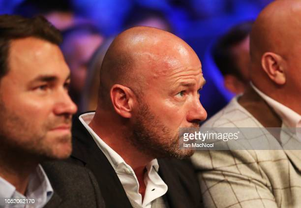Alan Shearer watches Craig Glover fight Simon Vallily during a Cruiserweight Contest at Metro Radio Arena on October 13 2018 in Newcastle upon Tyne...