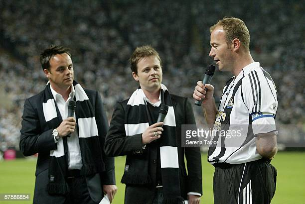 Alan Shearer with Ant and Dec are seen after the Alan Shearer Testimonial Match between Newcastle United and Glasgow Celtic at St James' Park on May...