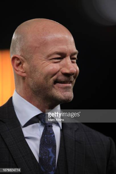 Alan Shearer working as a television pundit during the Emirates FA Cup Third Round match between Wolverhampton Wanderers and Liverpool at Molineux on...