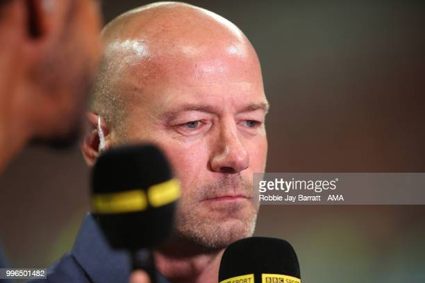 Alan Shearer works for the BBC at the end of the 2018 FIFA World Cup Russia Semi Final match between Croatia and England at Luzhniki Stadium on July...