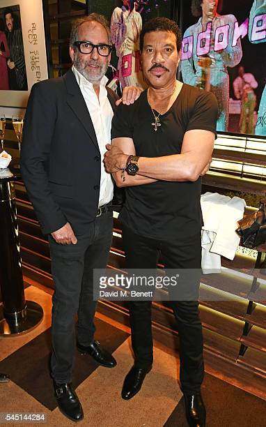 Alan Silfen and Lionel Richie attend the exclusive Lionel Richie exhibition 'STILL' by US photographer Alan Silfen at Dorchester Collections Mayfair...
