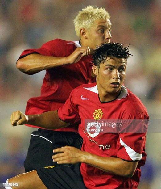 Alan Smith and Cristiano Ronaldo of Manchester United block the ball during an exhibition match against Beijing Hyundai FC at the Workers' Stadiumon...