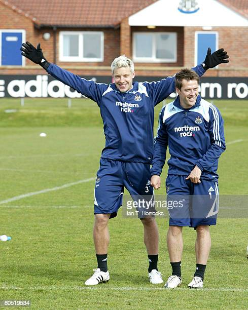 Alan Smith and Michael Owen during a Newcastle United training session at Little Benton on April 4 2008 in Newcastle Upon Tyne England