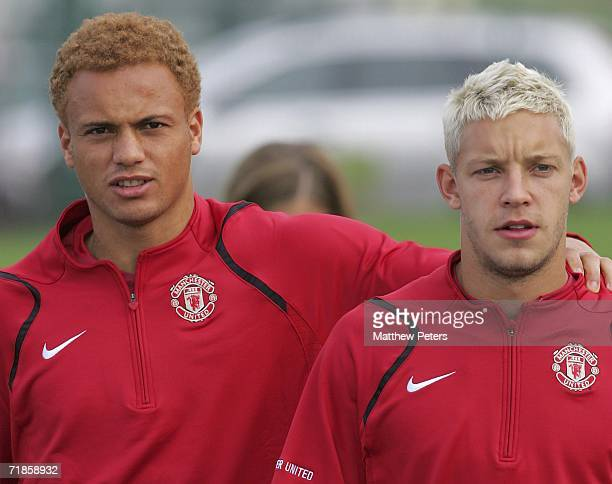 Alan Smith and Wes Brown of Manchester United in action during a first team training session at Carrington Training Ground on September 12 2006 in...
