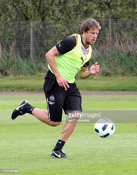 Alan Smith in action during a Newacstle United training session at The Little Benton training ground on May13 2011 in Newcastle United Kingdom