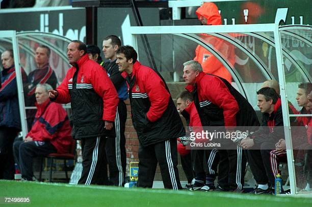 Alan Smith KarlHeinz Riedler and Roy Evans instruct their Fulham team from the bench during the match between Fulham v Crystal Palace in the...
