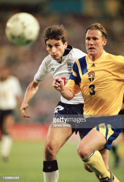 Alan Smith of England challenges Jan Eriksson of Sweden during the UEFA European Championships 1992 Group 1 match between Sweden and England held at...
