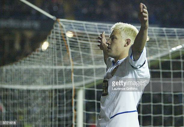 Alan Smith of Leeds celebrates his goal during the FA Barclaycard Premiership match between Leeds United and Leicester City at Elland Road on March 5...