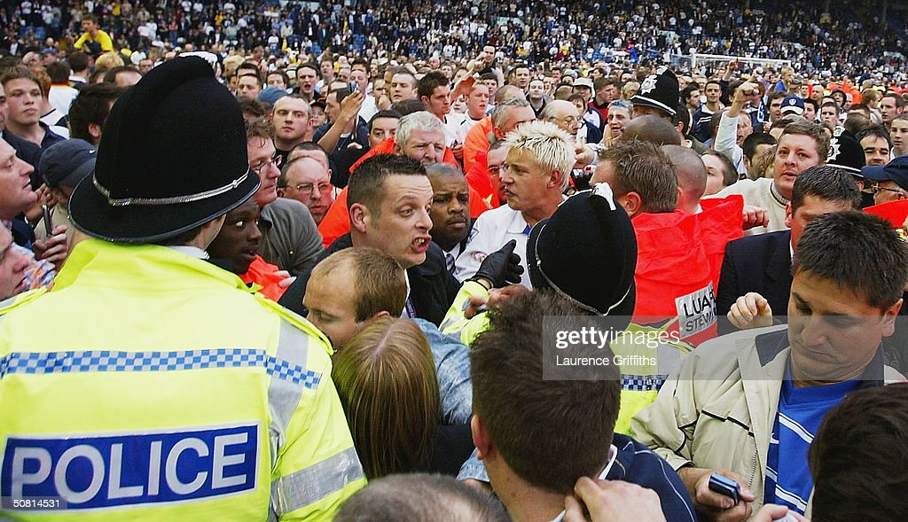 Alan Smith of Leeds is mobbed by fans after the FA Barclaycard Premiership match between Leeds United and Charlton Athletic at Elland Road on May 8, 2004 in Leeds, England.