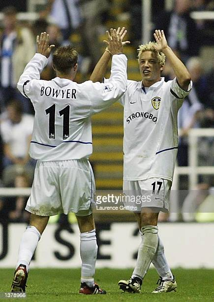 Alan Smith of Leeds United celebrates scoring with Lee Bowyer during the FA Barclaycard Premiership game between Newcastle United and Leeds United at...