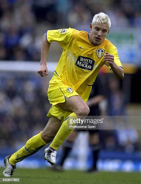 Alan Smith of Leeds United in action during the FA Barclaycard Premiership match between Blackburn Rovers and Leeds United at Ewood Park on April 10...