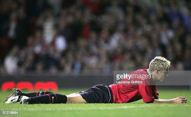 Alan Smith of Man Utd after he misses a shot on goal during the UEFA Champions League Third Round Qualifier Second leg match between Manchester...