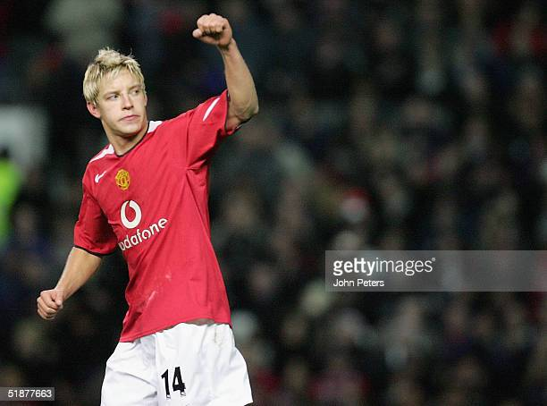 Alan Smith of Manchester United celebrates scoring the third goal during the Barclays Premiership match between Manchester United and Crystal Palace...