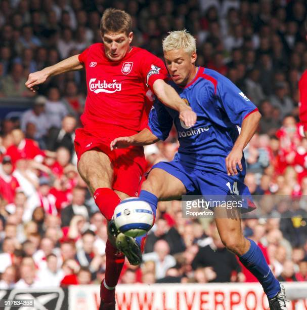 Alan Smith of Manchester United clashes with Steven Gerrard of Liverpool during the Barclays Premiership match between Liverpool and Manchester...